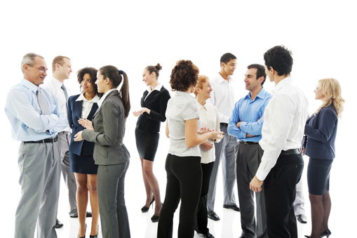 Large group of successful businesspeople standing together and discussing.  They are isolated on white background.  [url=http://www.istockphoto.com/search/lightbox/9786622][img]http://dl.dropbox.com/u/40117171/business.jpg[/img][/url]